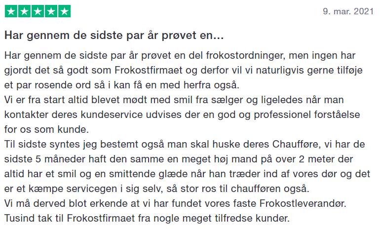 Trustpilot review af Frokostfirmaet som leverandør af frokostordning Aarhus